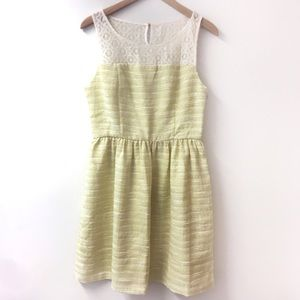 Elle Tweed and lace fit and flare dress yellow 12